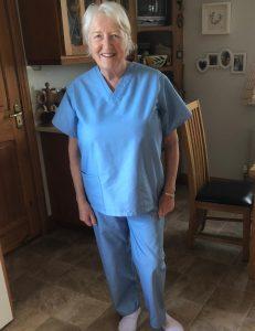Anne O'Dea models her scrubs